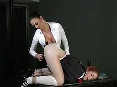 Young nice redhead babe with her teacher femdom