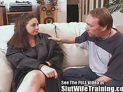 Rebecca gets dirty d's cum tasting 101 slut wife course