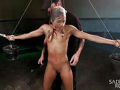 Skinny ebony tied up and tortured