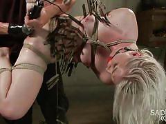 fisting, bdsm, torture, domination, vibrator, tied up, suspended, blonde babe, clothespins, rope bondage, sadistic rope, kink, ella nova