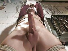 Vibrators pressed up his dick