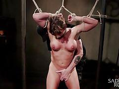 spanking, domination, fetish, vibrator, brunette, busty milf, tied up, weights, rope bondage, sadistic rope, kink, ariel x