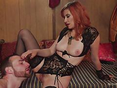 tattoo, femdom, strapon, ass licking, fetish, pussy licking, busty milf, sexy lingerie, redhead mistress, divine bitches, kink, maitresse madeline, jimmy bullet