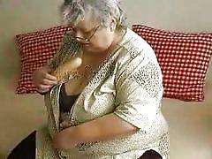 glasses, solo, stripping, big boobs, dildo, fat granny, licking dildo, on couch, grey hair, oma hotel, old nanny, hermine