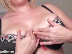 Natural big breast maggie green gets off with dildo!