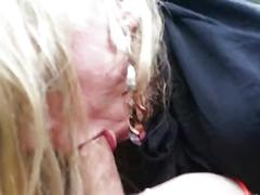 Blond sucking my cock in car!
