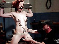 bdsm, babe, torture, redhead, domination, dildo, nipple clamps, tied up, rope bondage, sadistic rope, kink, ingrid mouth