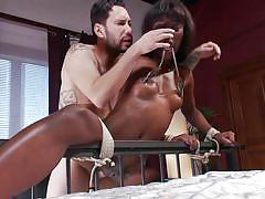 Ebony gets tortured and fucked by a white guy