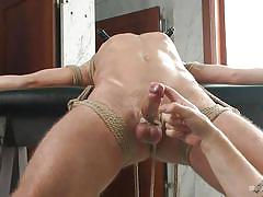Skinny tied dude gets his cock worked out