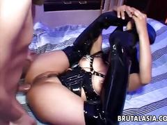 One wild asian freak in a full get up gets blasted