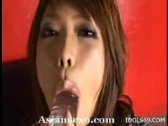 hikari, hino, lovely, asian, model, enjoys, dildo, before, sucking