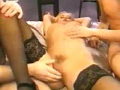 Hot danish blonde babe fucked by 2 cocks