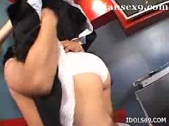 Maria ozawa is a sexy waitress who gets her pussy penetrated hard