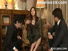 Japanese av model gets a backside sex treat