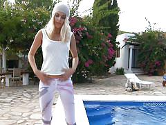 small tits, blonde, russian, young girl, solo, long hair, masturbation, natural tits, undressing, swimming area, sasha blonde, sasha blonde, diesel action