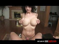 Busty brunette sucks your cock
