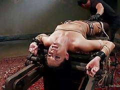 milf, bdsm, stockings, vibrator, face fuck, electric wand, dark hair, restraints, the training of o, kink, india summer, owen gray