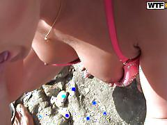 Brunette getting laid on the sea shore