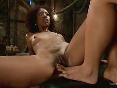 Rubbing her cunt with sensual feet