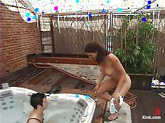 milf, femdom, mistress, outdoor, humiliation, brunette, jacuzzi, water bdsm, water jet, men in pain, kink men, danny wylde, lexi bardot