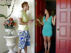 Milf sucks off the guy next door