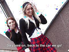 teens, blonde, lesbians, pigtails, schoolgirl, skirt, brunette, hitchhiker, undressing, in car, stranded teens, mofos network, jessi gold, dominica phoenix