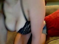 Hot blonde amateur cam girl big tits,  booty shorts and tank top