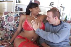 Busty ebony takes white cock with facial