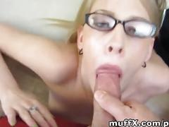 Blonde with glasses smokes my dick