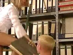 Russian blonde anja in the office