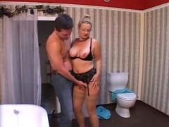 German classic mature woman seduces a young guy
