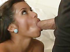 Deep throat girl takes it all in.
