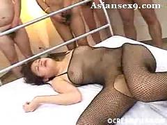 Asian yumi osako bukkake party action creamed pussy