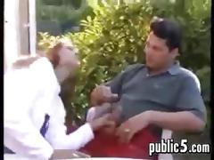 Hot girl sucking and fucking at a restaurant