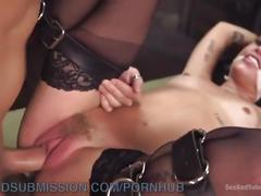 bondage, anal, rough sex, big-dick, sexandsubmission, ass-fuck, rough, bdsm, blowjob, face-fucking, handcuffs, stockings, gag, sloppy-blowjob, brunette, babe