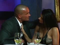Hot brunette fucks on table