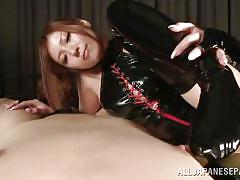 Hot asian milf does the sucking