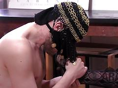 Oriental mistress punishes her arab slave