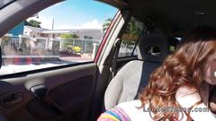 Redhead teen fucking in a trunk outdoor
