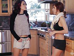 Raven and april play dirty in the kitchen