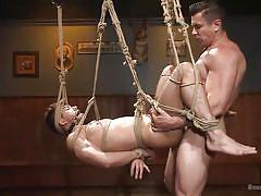 sadism, tied up, sex slave, gay sex, gay handjob, suspended, gay anal, gag, rope bondage, bound gods, kink men, kyle kash, trenton ducati