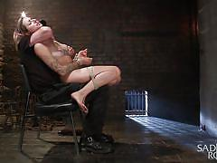 blonde, babe, torture, domination, fetish, vibrator, tied up, electric wand, rope bondage, sadistic rope, kink, missy minks