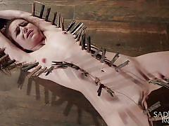 teen, bdsm, domination, masturbation, vibrator, brunette, tied up, clothespins, rope bondage, sadistic rope, kink, juliette march