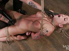 tattoo, spanking, big tits, domination, vibrator, tied up, blonde milf, suspended, rope bondage, sadistic rope, kink, dahlia sky