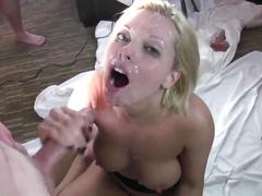 Blonde deepthroat and bukkake by whites cocks