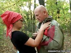 Granny's blowjob in the forest
