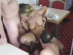 Old men fuck young waitress