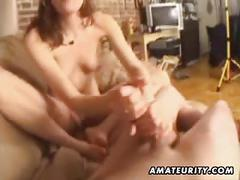 Amateur girlfriend handjob and blowjob with facial cumshot