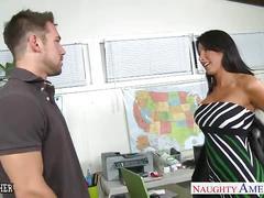 Tanned sex teacher lezley zen gives titjob