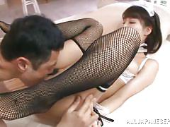 young, japanese, stockings, hand job, pussy licking, cosplay, cock sucking, fishnet stockings, maid uniform, j cos play, all japanese pass, shunka ayami